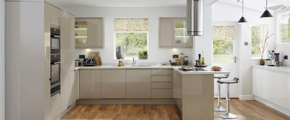 Gloss stone integrated handle springmeadow for Kitchen ideas uk howdens